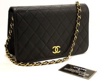 7c2614e6555a CHANEL Chain Shoulder Bag Clutch Black Quilted Flap Lambskin