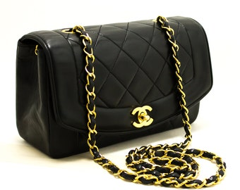 a22504dd9dba CHANEL Diana Flap Chain Shoulder Bag Crossbody Black Quilted Lamb