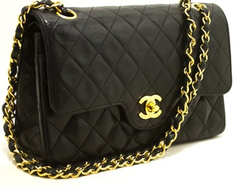 e6a3eca7f10b CHANEL Double Flap Chain Shoulder Bag Black Quilted Lambskin