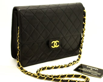 504269e3d10 CHANEL Small Chain Shoulder Bag Clutch Black Quilted Flap Lambskin