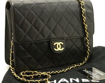 ac71c15c599f6a CHANEL Small Chain Shoulder Bag Clutch Black Quilted Flap Lambskin