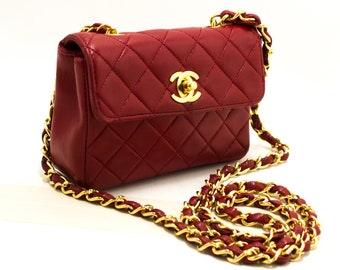 957b9033bc8c CHANEL Red Mini Very Small Chain Shoulder Bag Crossbody Quilted