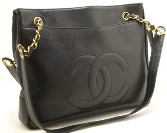 78c11218f95a CHANEL Caviar Large Chain Shoulder Bag Black CC Leather Gold