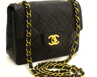 5000ca537e31 CHANEL Mini Square Small Chain Shoulder Bag Crossbody Black