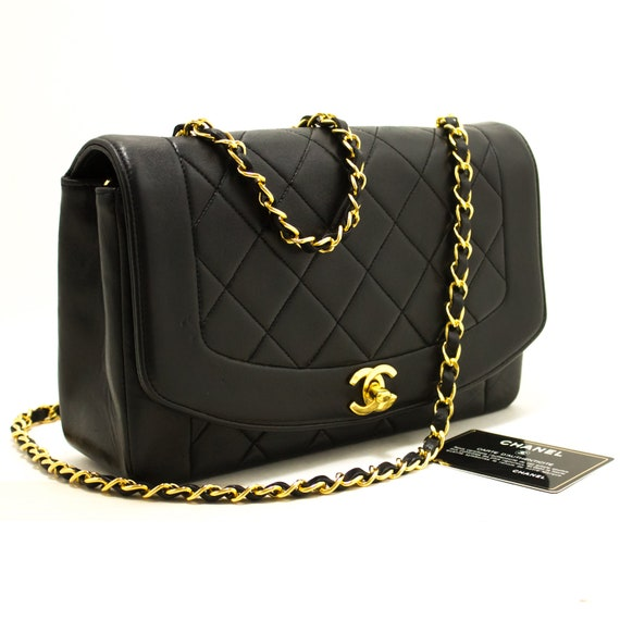3a4315d84b50 CHANEL Diana Flap Chain Shoulder Bag Crossbody Black Quilted