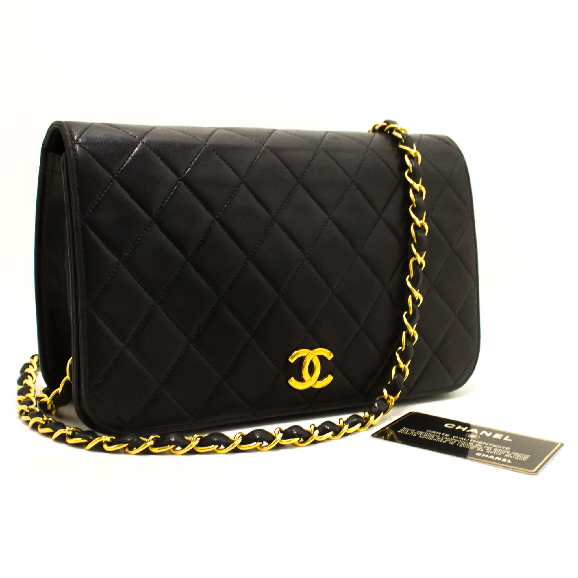 091a14511439 CHANEL Chain Shoulder Bag Clutch Black Quilted Flap Lambskin   Etsy