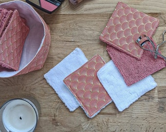 Reusable washable makeup remover squares (and basket)