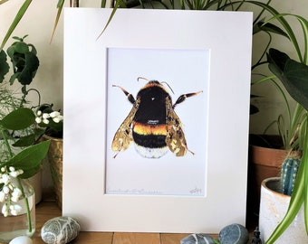 Large Intricate Cracked Gold Leaf Bumblebee Illustration Signed Art Print