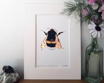 Cracked Copper Leaf Bumblebee Print