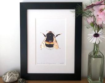 Framed Copper Leaf Intricate Bumblebee Print