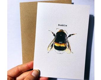 Bumblebee Illustrated Greeting Card