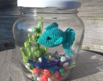 Small aquarium set set with mint fish starfish water grass and aquarium stones, decor for home office a great gift