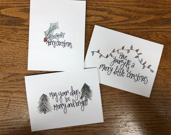 christmas cards drawings holly trees lights christmas merry christmas