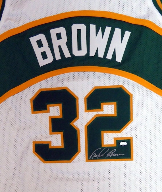 7148b3c56 Seattle Sonics Fred Brown Autographed White Jersey | Etsy