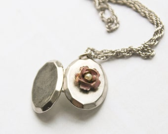 Vintage Silver Oval Locket with Pink Enamel and Pearl Rose on Silver Chain