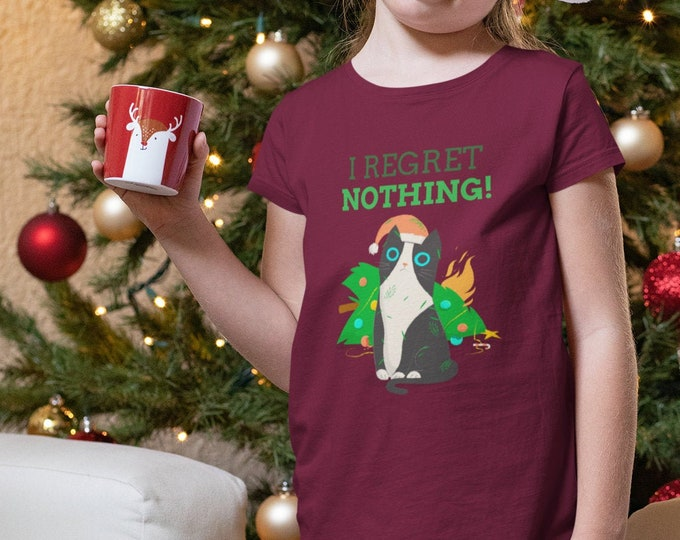 Featured listing image: I Regret Nothing Christmas Cat T-Shirt