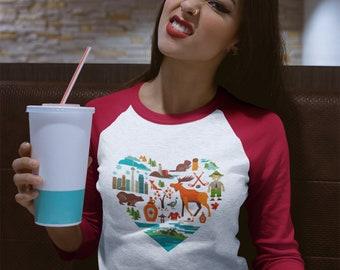 Canadian Icon Heart Baseball T-Shirt
