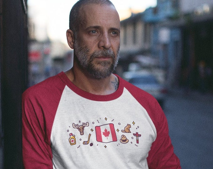 Canadian Symbols Baseball T-Shirt