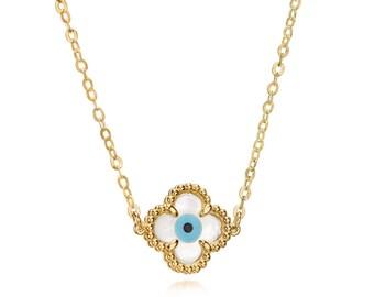 Evil Eye Cross Necklace   14k Gold Eye Necklace   Evil Eye Necklace with Cross   Protection Necklace   Birthday Gift for Best Friend