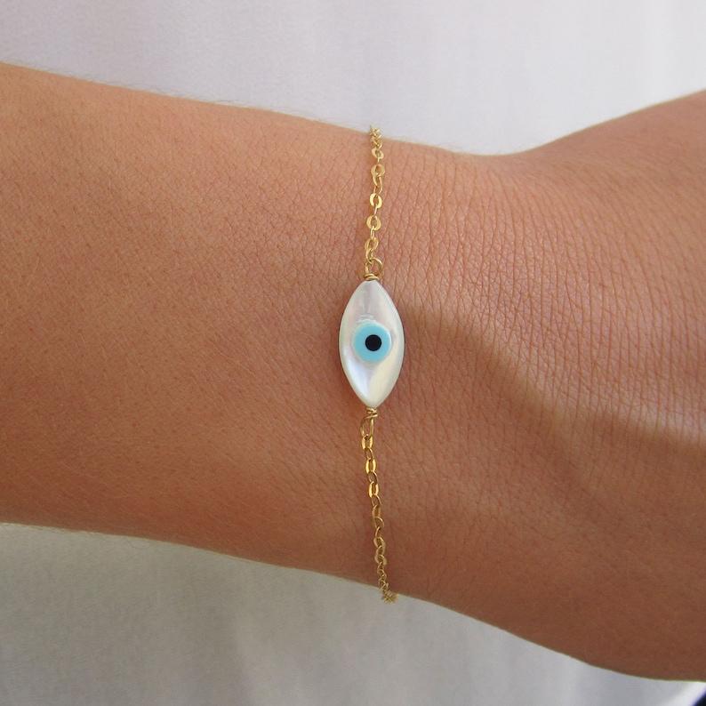 Evil Eye Jewelry Evil Eye Charm Delicate Thin Gold Bracelet Best Friend Bracelet Evil Eye Bracelet Birthday Gift 14K Gold Bracelet