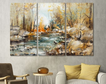 Forest wall art,Brook in forest,Autumn forest,Autumn wall decor,Nature canvas set,Oil painting art,Forest canvas print,Ready to hang