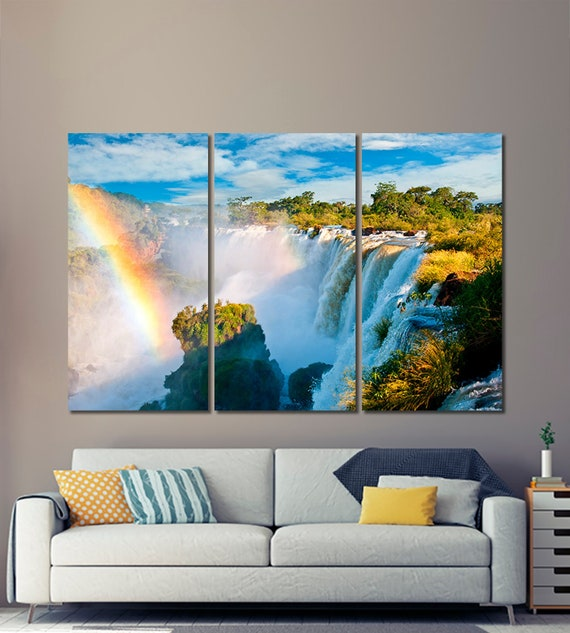 SC749 blue jungle waterfall lake Scenic Wall Art Picture Large Canvas Print