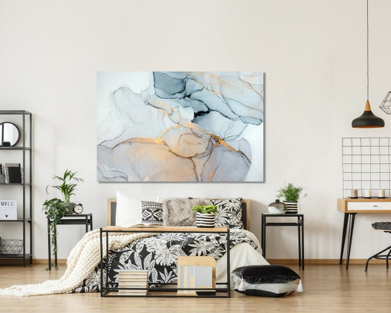 Large Wall Art,Ink Painting Art,Large Abstract Canvas,Marble wall art,Modern Wall Art, Abstract wall decor,Office Wall Decor,Ready to hang