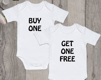 25c638032 Buy one Get one free Funny twin onesies Twin outfits Twin Onesies Funny  Baby Boy Girl Shower Gift Gender Reveal Set of 2 onesies