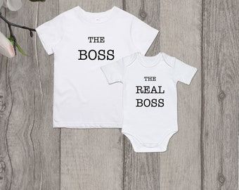 The boss The real boss Father and son shirts Father and daughter matching  shirts Family matching Funny family outfits Dad and baby matching 9e355104d75