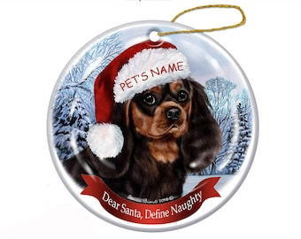 Cavalier King Charles Christmas Ornament   glass bulb dog gift personalized floated paper memorial