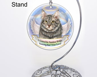 Memorial Ornament With Personalization Options Maine Coon Silver