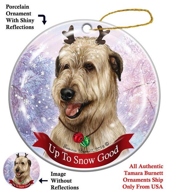 Wheaten Santa Hat Dog Porcelain Ornament Holiday Pet Gifts Irish Wolfhound