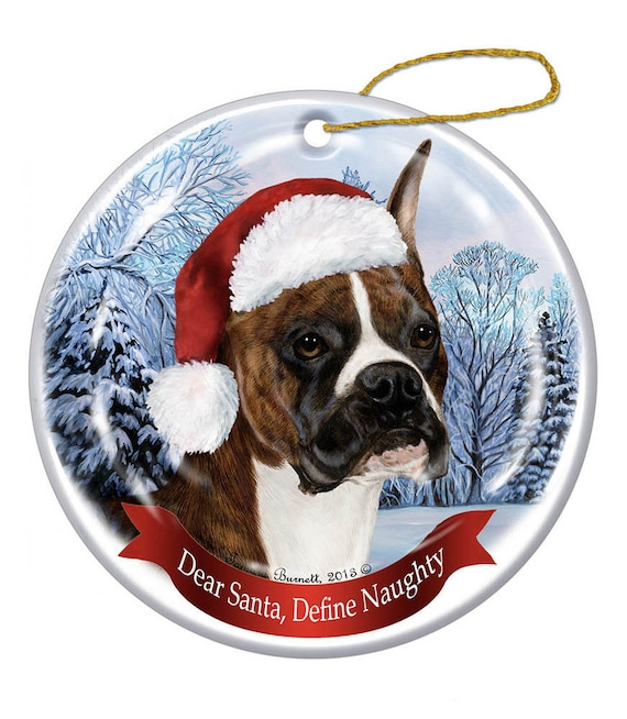 Holiday Pet Gifts Boxer Cropped Brindle Santa Hat Dog Porcelain Christmas Ornament