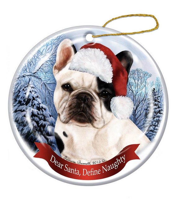 Black and White French Bulldog Dog Santa Hat Christmas Ornament Porcelain
