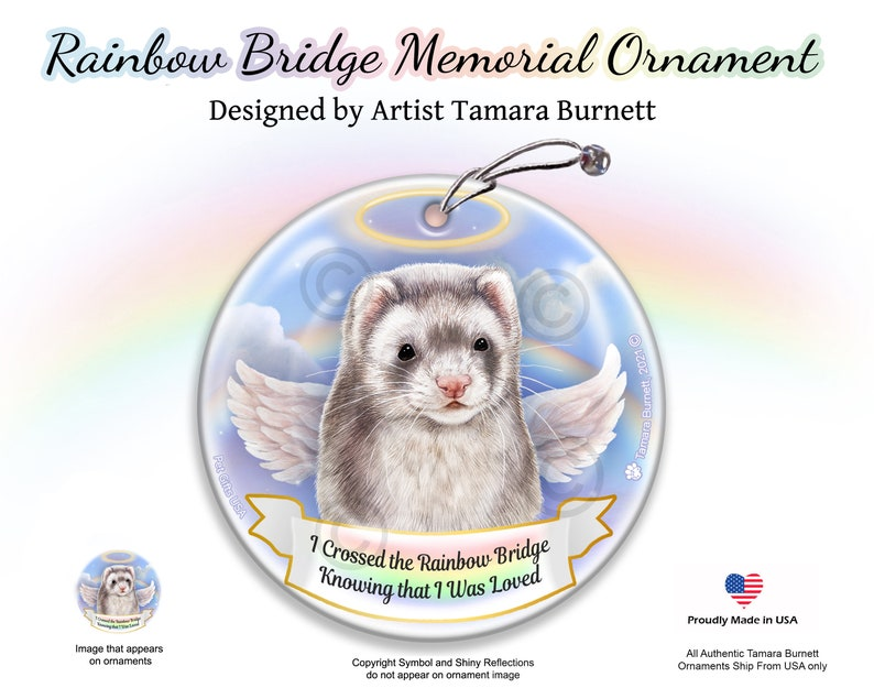 Memorial Ornament With Personalization Options Ferret Silver