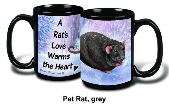 Holiday Pet Gifts Solid Dark Grey Rat Santa Hat Porcelain Christmas Ornament