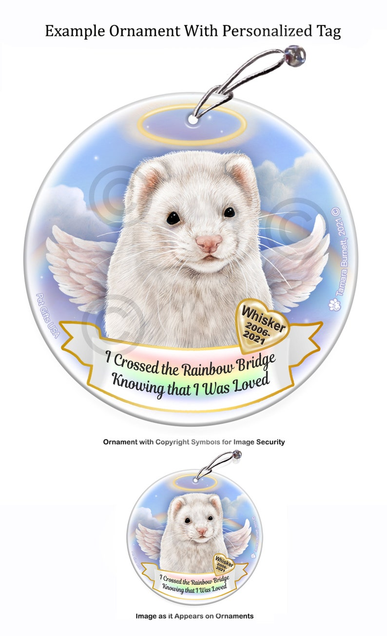 Ferret Chocolate Sable Memorial Ornament With Personalization Options