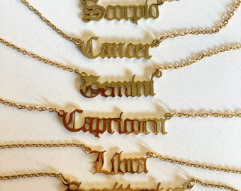 Gold and Silver Zodiac Necklace Scorpio Leo Pisces Sagittarius Virgo Aquarius Capricorn Cancer Taurus Aries Gemini Leo Libra