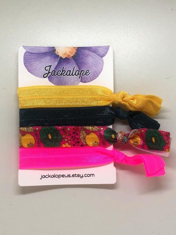 Floral pink colorful elastic hair ties Creaseless hair ties  35eec605e36