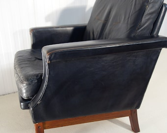 Leather Lounge Chair Etsy