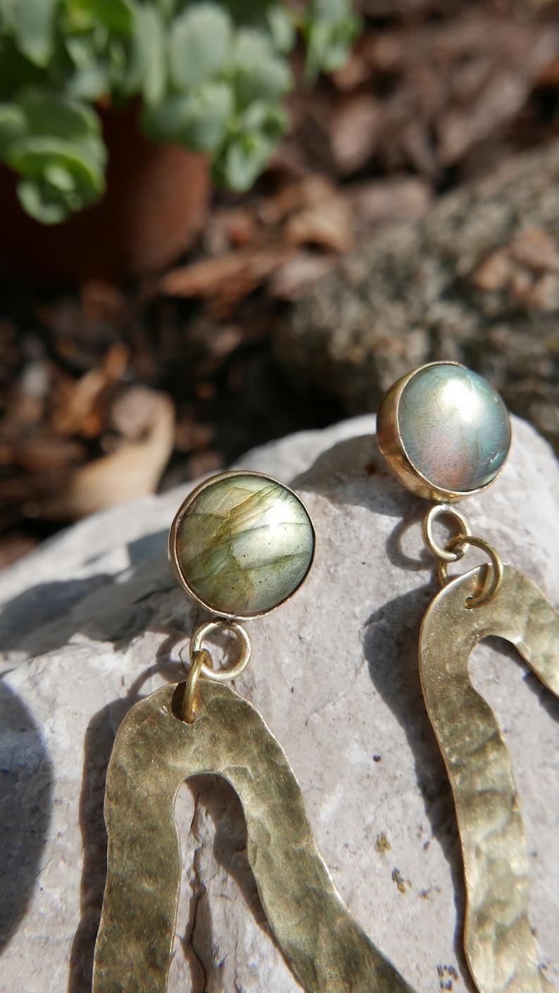Handmade Bohemian Labradorite Earrings Labradorite Jewelry