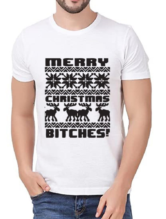 Tee with Decor Print- Beautiful Gift Idea for Christmas Eve Merry Christmas Bitches Shirt Christmas Lights Graphic on T-shirt Unisex