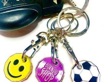I Love My Grandad Plastic Shopping Trolley Coin Key Ring Colour Choice New