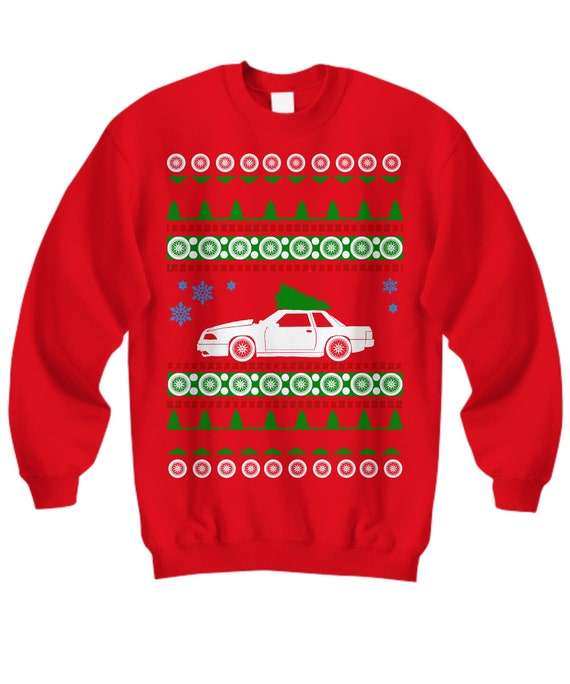 Ford Mustang Notchback Fox Body Ugly Christmas Sweater Hot Rod Etsy