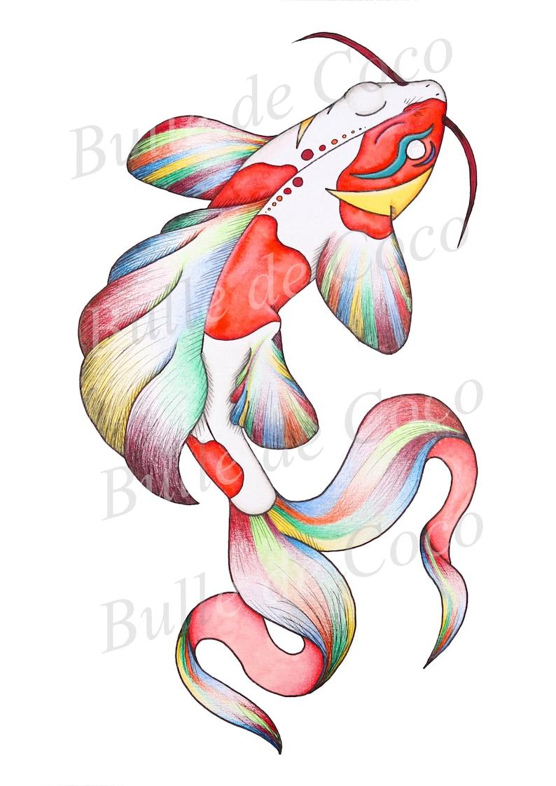 Illustration 21x14.8cm Printed map  Art  Decoration  Animal  Japan Koi Carp