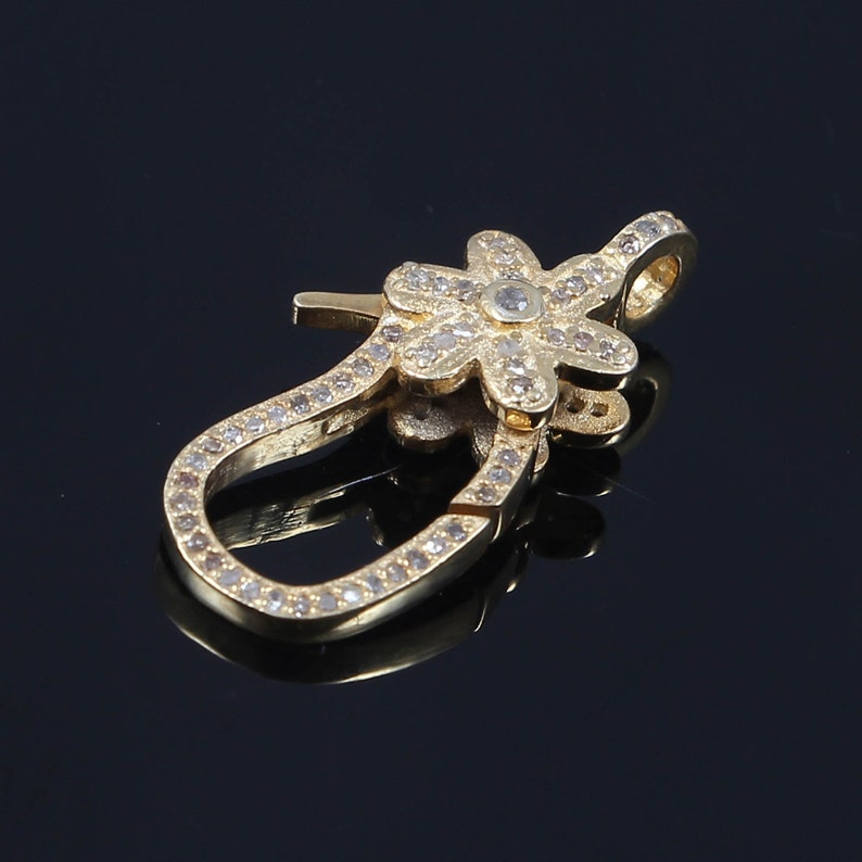 both side diamond Antique finish over 925 sterling silver gold plated jewellery. 1 piece pave diamond lobster clasp