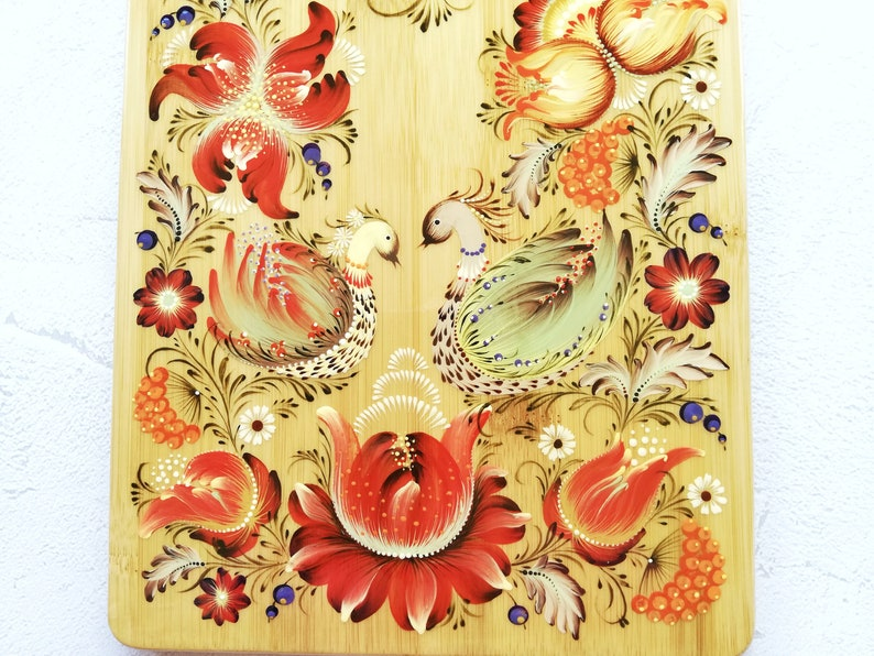 Red flower chopping board Kitchen decor Decor gift for her Bread board Cutting bamboo serving board Painted wooden kitchen cutting board