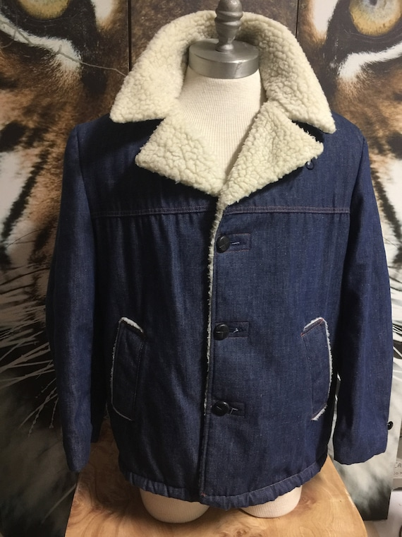 Men's Vintage 60s Faux Shearling Denim Jacket