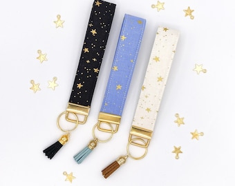 Metallic Star Wristlet Keychain   Keychain Wristlet   Wrist Lanyard   New Car   Gift for Her   Gold Metallic Fabric   Teacher Gift