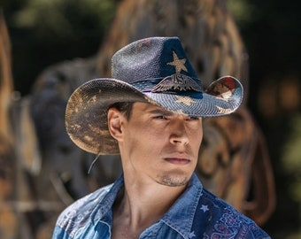 f84cc3c408dad Stampede Hats Genuine Panama Straw Western Hat with USA Brooch   Star Wings